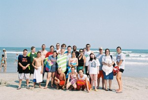 All of us gathered on the beach!